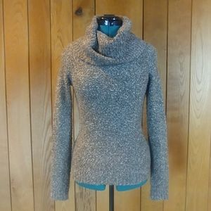 EUC NY&C Marled Gray Brown Cowl Funnel Neck XS